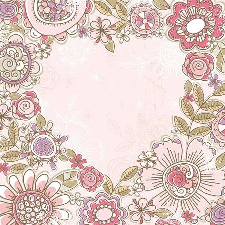 valentine heart of pink flowers,  vector illustration Vector