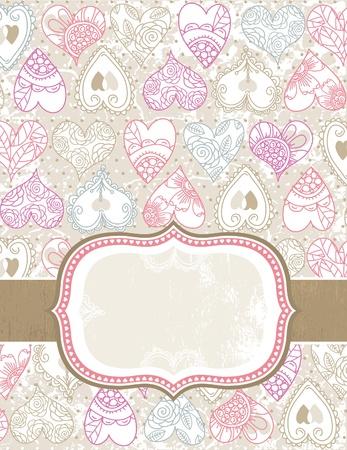 garabatos: San Valentín con corazones de color de fondo, ilustración vectorial