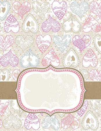 romantic picture:  valentine background with color hearts,  vector illustration