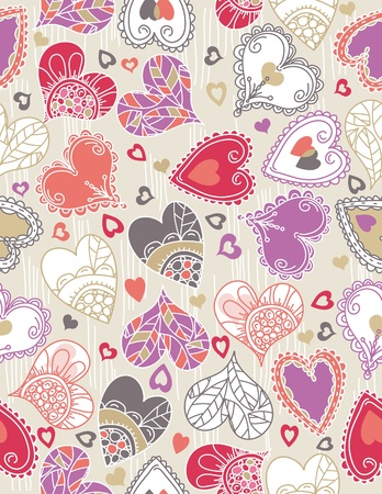 doodle art clipart: valentines background with  color hearts, vector illustration Illustration