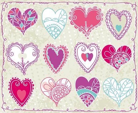 garabatos: doce dibujo a mano tarjetas de San Valentín corazón, ilustración vectorial Vectores