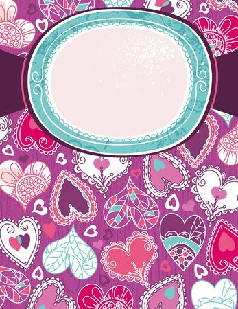 violet valentine background with color hearts,  vector illustration Vector