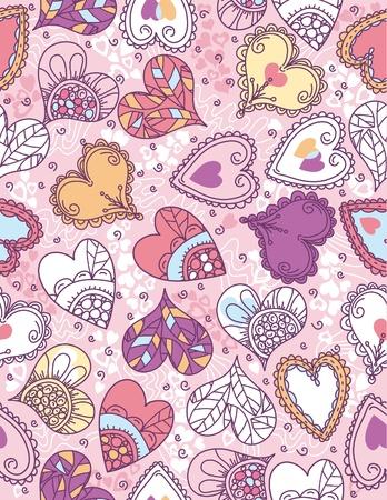 scrawl: San Valentino con cuori sfondo a colori, illustrazione vettoriale Vettoriali