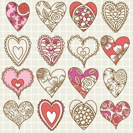 hand drawing valentines heart, vector illustration