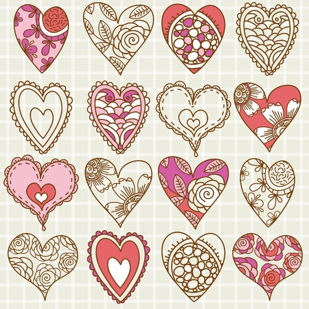 doodle art clipart:  hand drawing valentines heart, vector illustration