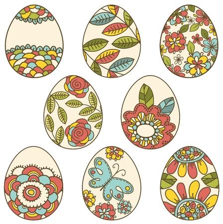 pasch: color easter eggs with floral elements, vector illustration