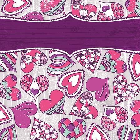 garabatos: violeta, día de San Valentín con corazones de color de fondo, ilustración vectorial