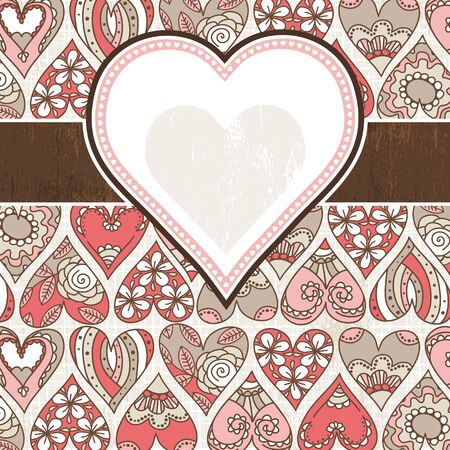 label on background with valentines hearts,  vector illustration Vector