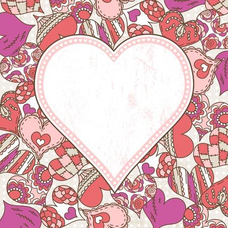 garabatos: la etiqueta en el fondo con corazones de San Valentín, ilustración vectorial Vectores