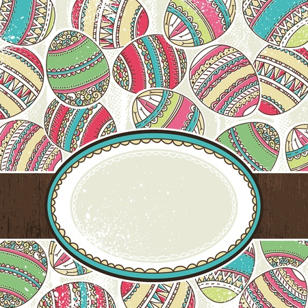 pasch: one label over  background of many easter eggs, vector