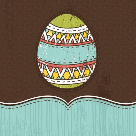 pasch:  one easter egg over  brown background, vector