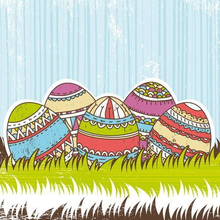 pasch: five easter egg over  green grass, vector Illustration