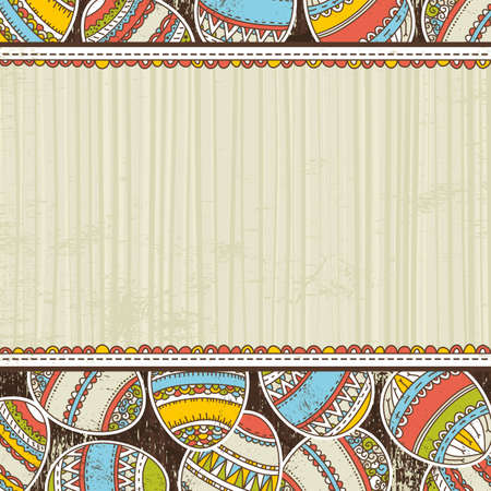 pasch: beige grunge background with easter eggs, vector