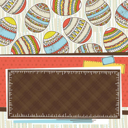 pasch: Label with background of easter eggs, vector illustration Illustration