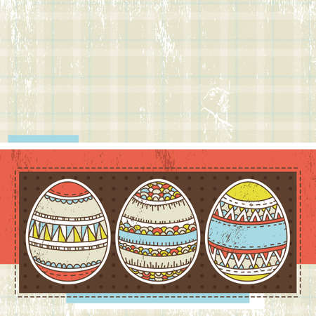 three easter eggs over color background, vector illustration Stock Vector - 12492324