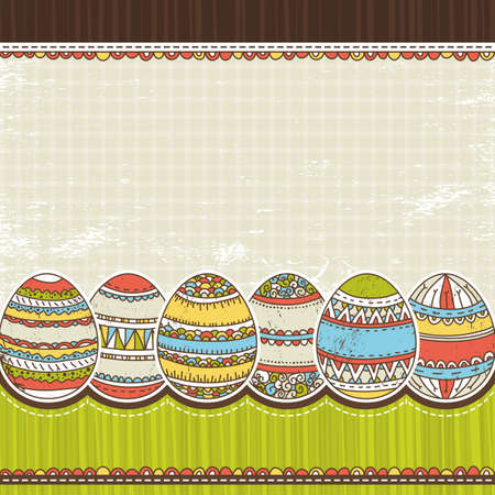 six easter egg over color background, vector illustration Stock Vector - 12492323