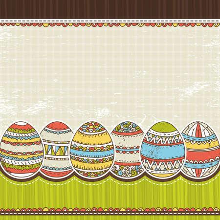 six easter egg over color background, vector illustration Vector