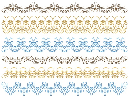 seven calligraphic decorative lines Vector