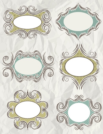 clipart wrinkles: decorative  labels suitable for design Illustration