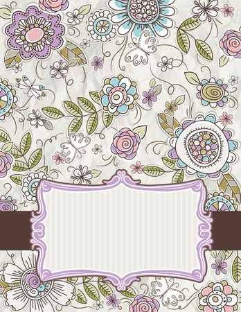 clipart wrinkles: background of hand draw  flowers, vector illustration