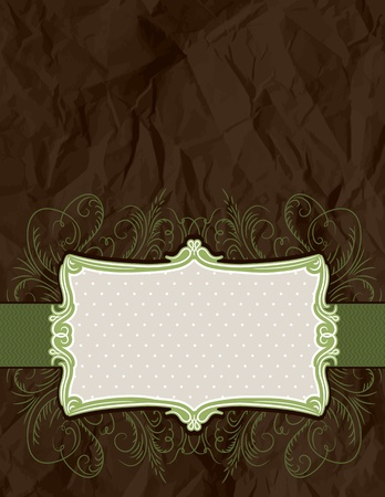 crumple: background of crumple paper with decorative label, vector illustration