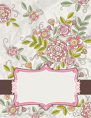 wrinkly: background of hand draw  flowers, vector illustration