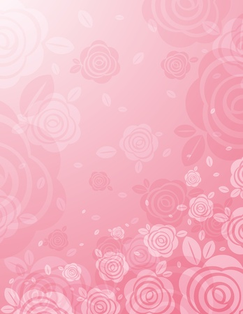 background with many pink roses Stock Vector - 13071658