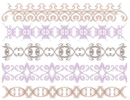 seven calligraphic decorative lines,  vector illustration Vector
