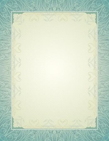 oorkonde: certificaat achtergrond met kalligrafische lijnen, vector illustratie