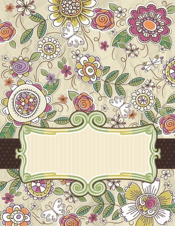 hand draw: background of hand draw  flowers, vector illustration
