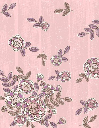 pink background of hand draw  flowers, vector illustration Vector