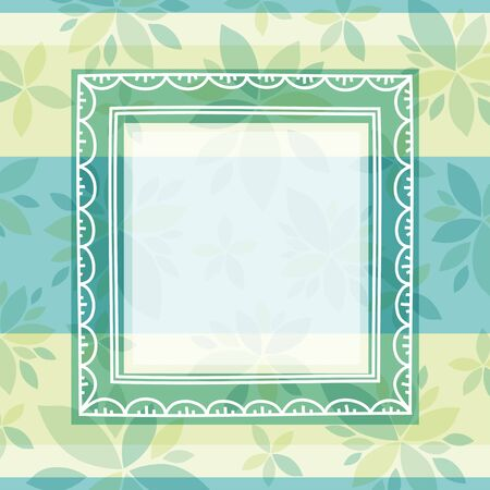 green decorative background with frame and flowers, vectorEPS10. Contains transparent objects Vector