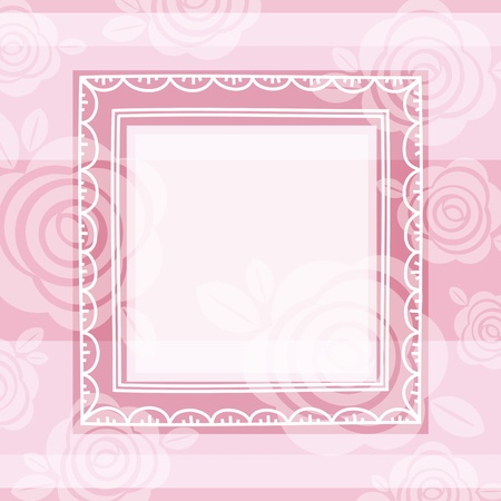 fancy floral wallpaper: background of roses and square frame, vector EPS10. Contains transparent objects