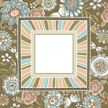 background of hand draw  flowers with square frame, vector illustration Vector
