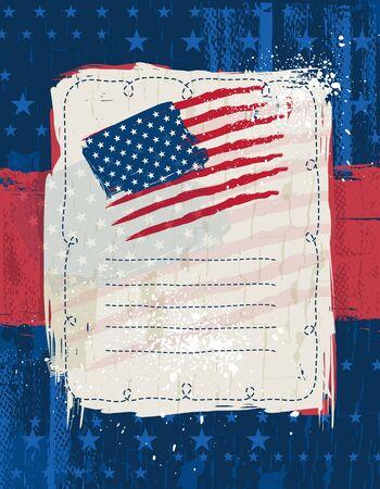 us flag grunge: usa background with one decorative label