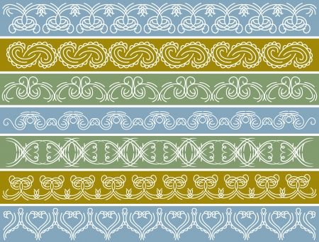 seven decorative lines over color background Vector