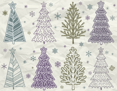 tree drawing: christmas trees  on beije crumple background Illustration