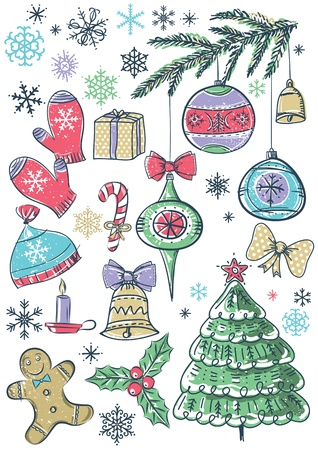 tree trimming: background with christmas elements Illustration