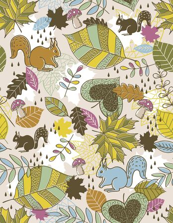 doodle art clipart: background of hand draw  leafs suitable wrapping paper , vector