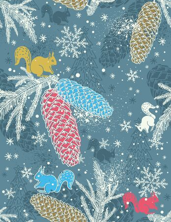 pinecone: background with christmas elements suitable for wrapping paper,  vector illustration Illustration