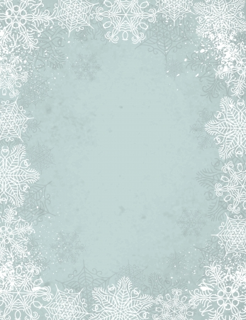 grunge border: grey christmas background with frame of snowflakes Illustration