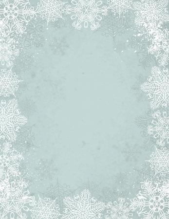 winter wallpaper: Navidad de fondo gris con marco de copos de nieve Vectores