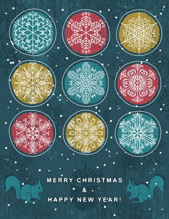 christmas background with hand draw snowflakes Stock Vector - 15353869