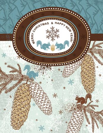 alder: background with christmas elements and label for text message,   illustration