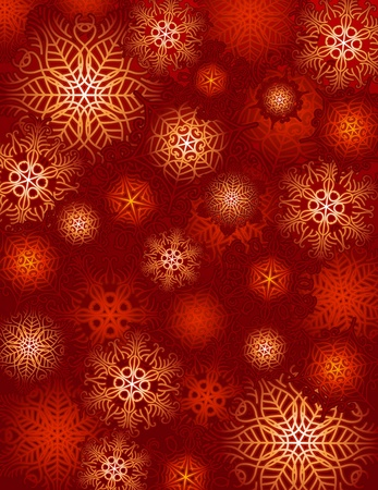red background with snowflakes suitable for wrapping paper Vector