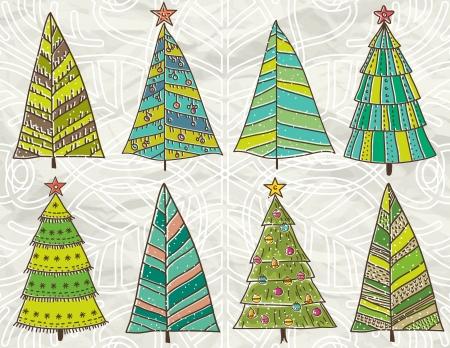 crumple: christmas trees  on beije crumple background Illustration