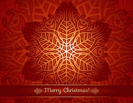 red background with big snowflake and text Vector