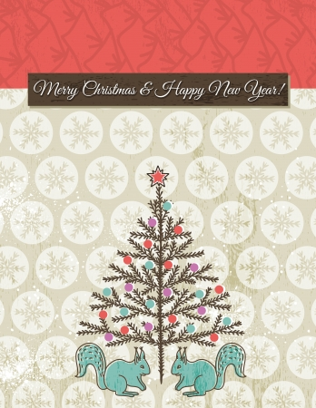 christmas background with snowflakes, squirrel and christmas tree, vector illustrationEPS10  Contains transparent objects Vector