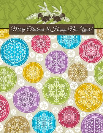 christmas background with hand draw snowflakes, vector illustration Vector