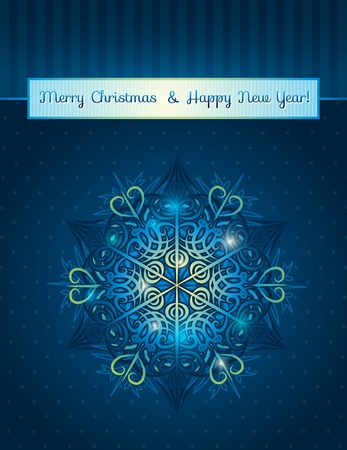 blue background with big snowflake and text,  vector illustration Vector